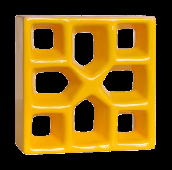 Elemento vazado esmaltado Reto Xis Amarelo Girassol