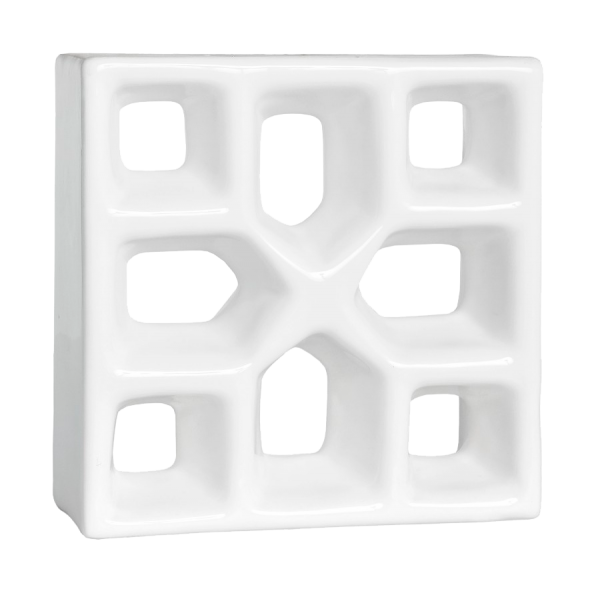 Elemento vazado esmaltado Reto Xis Branco