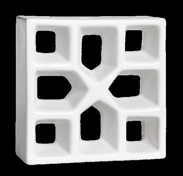 Elemento vazado esmaltado Reto Xis Branco Fosco