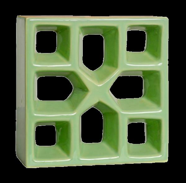 Elemento vazado esmaltado Reto Xis Verde